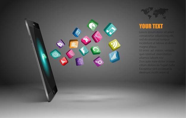 Smartphone z ekranem dotykowym i ikonami aplikacji