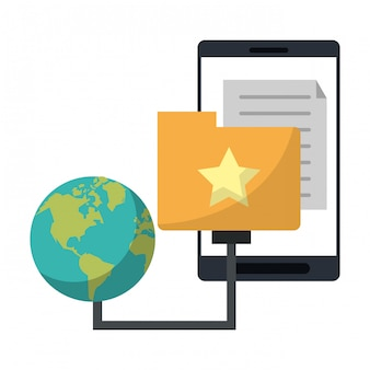 Smartphone z folderu dokumentu i symbol świata