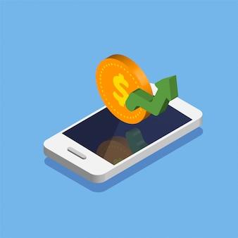 Smartphone z ikoną monety dolara w modnym stylu izometrycznym. przepływ pieniędzy i płatności online. wzrost lub wzrost dolara. zwrot gotówki lub zwrot pieniędzy. ilustracja na białym tle.