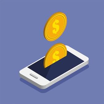 Smartphone z ikoną monety dolara w modnym stylu izometrycznym.