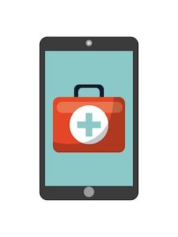 Smartphone z ikoną teczki pierwszej pomocy