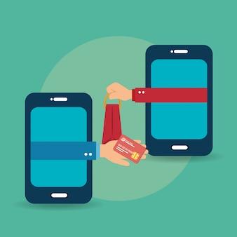 Smartphone z ikonami handlu elektronicznego