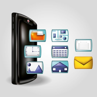 Smartphone z ikonami mediów społecznych