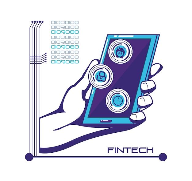Smartphone z ikonami technologii finansowej