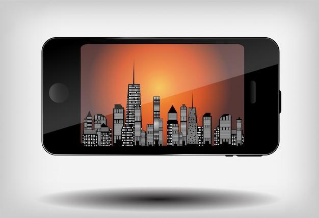 Smartphone z ilustracją miasto sylwetka.