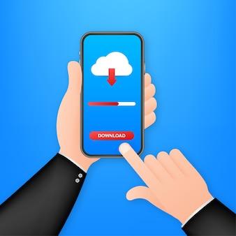 Smartphone z ilustracją pobierania pliku