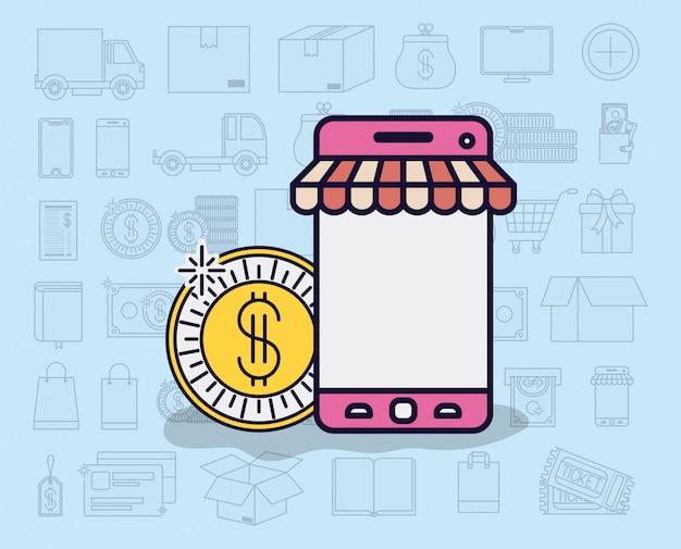 Smartphone z parasolem i ikony e-commerce
