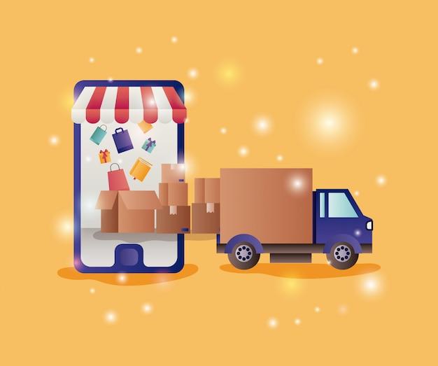 Smartphone z parasolem ikony e-commerce