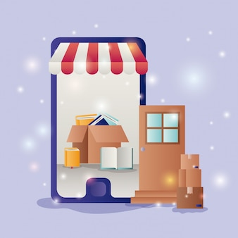 Smartphone z parasolem ikony ecommerce