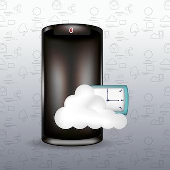 Smartphone z przechowywaniem w chmurze i zegarem