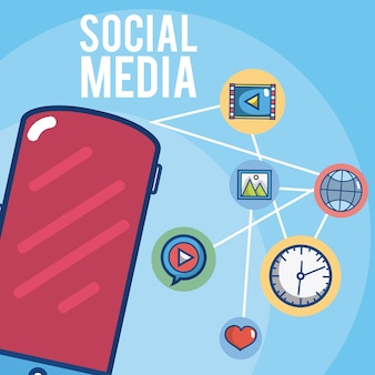Smartphone z symbolami mediów społecznościowych
