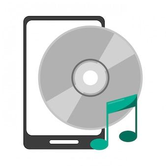 Smartphone z symbolem muzyki cd