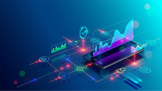 Smartphone z wykresem biznesowym i danymi analitycznymi na izometrycznym telefonie komórkowym