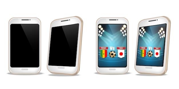 Smartphone z wynikami piłkarskimi na ekranie