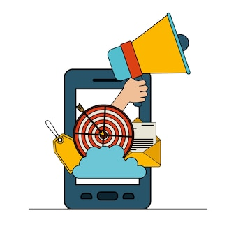 Smartphone z zestawem megafon i elementy strategii