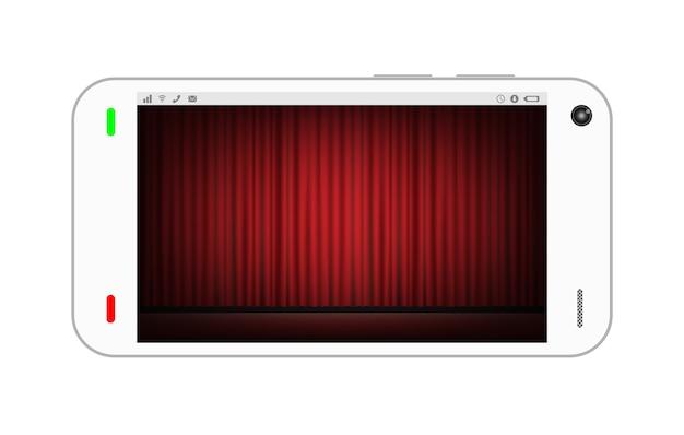 Smartphone ze sceną i czerwonym tle kurtyny