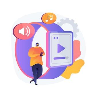 Smartwatch jako przenośny odtwarzacz multimedialny ilustracja koncepcja abstrakcyjna