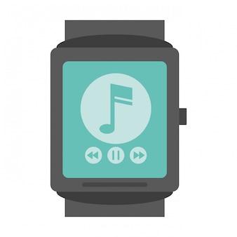 Smartwatch z aplikacją odtwarzacza muzyki