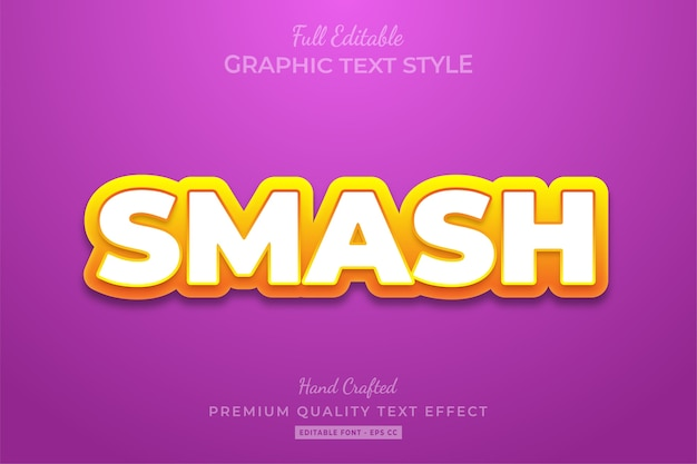 Smash cartoon edytowalny niestandardowy efekt stylu tekstu premium