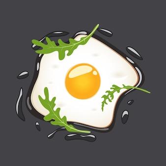 Smażący jajka z arugula, odosobniona ilustracja.