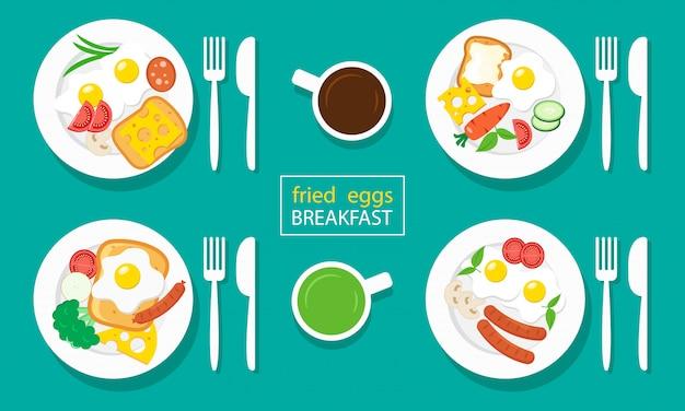 Smażone jajka na śniadanie. kiełbasy, tosty, sery, warzywa. kawa i herbata.