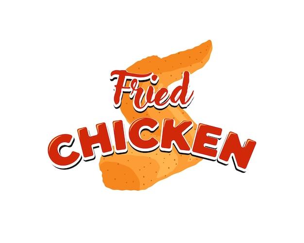 Smażone skrzydełko z kurczaka z napisem menu restauracji reklama znak projekt szablon kreskówka fast food