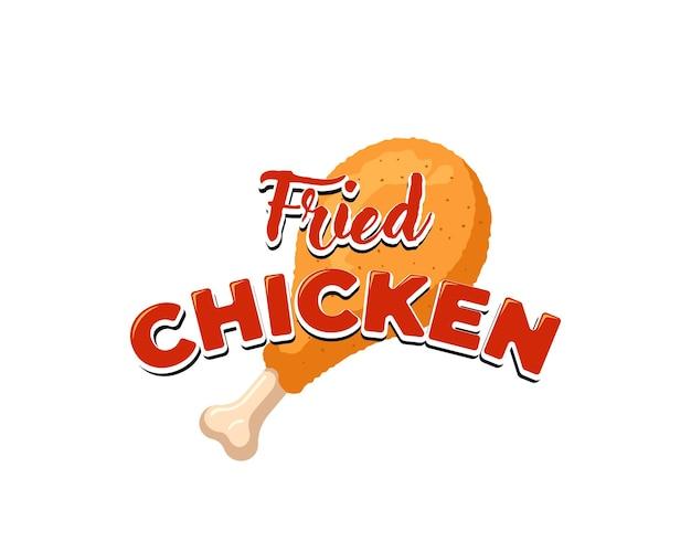 Smażone udko z kurczaka z napisem szablon projektu znak menu restauracji. kreskówka fast food biznes chrupiące podudzie godło na białym tle ilustracji wektorowych eps