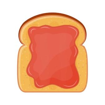 Smażony chleb, tosty z dżemem truskawkowym na śniadanie