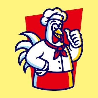 Smażony kurczak maskotka ilustracja wektorowa logo