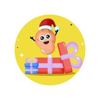Smażony kurczak prezent świąteczny słodkie logo postaci
