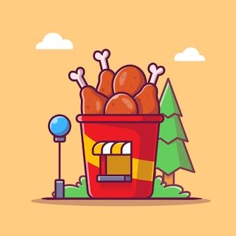 Smażony kurczak sklep ikona ilustracja kreskówka. koncepcja budynku ikona sklep spożywczy na białym tle. płaski styl kreskówki