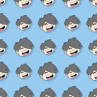 Śmiać się przystojny chłopak bezszwowe powtórzyć wzór. tło wektor ilustracja.