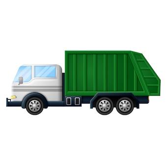 Śmieci ciężarówki na białym tle