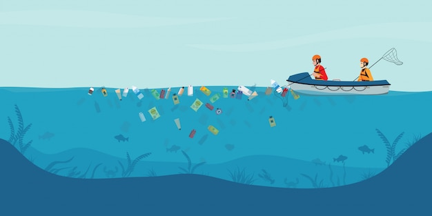 Śmieci unoszące się w wodzie, mężczyźni wolontariuszi zrywają z morza lub oceanu na łodzi.