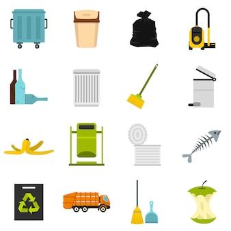 Śmieci ustawić płaskie ikony