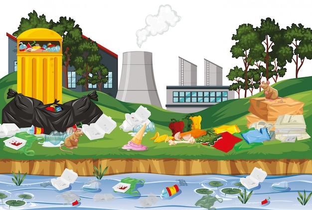 Śmieci w scenerii fabryki na zewnątrz