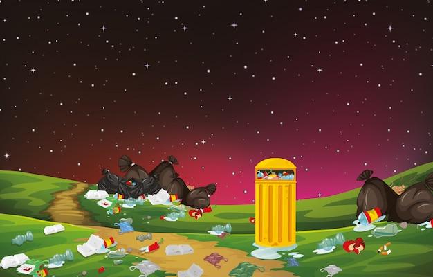 Śmieci w scenie parkowej