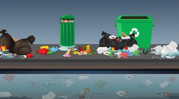 Śmieci w scenie ulicznej