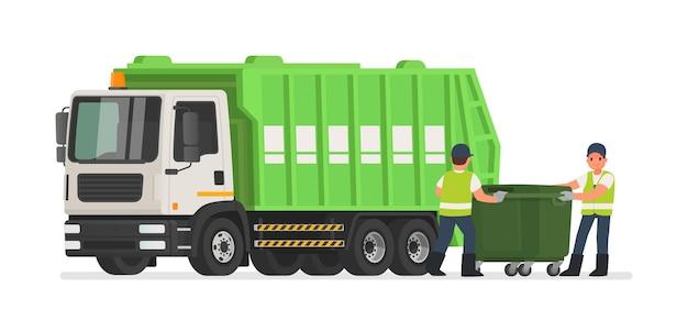 Śmieciarka i śmieciarze. robotnicy zbieraczy czyszczą kosz na śmieci.