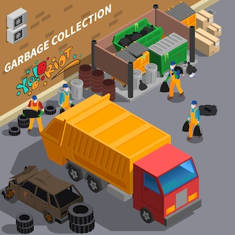 Śmieciarka izometryczny ilustracja