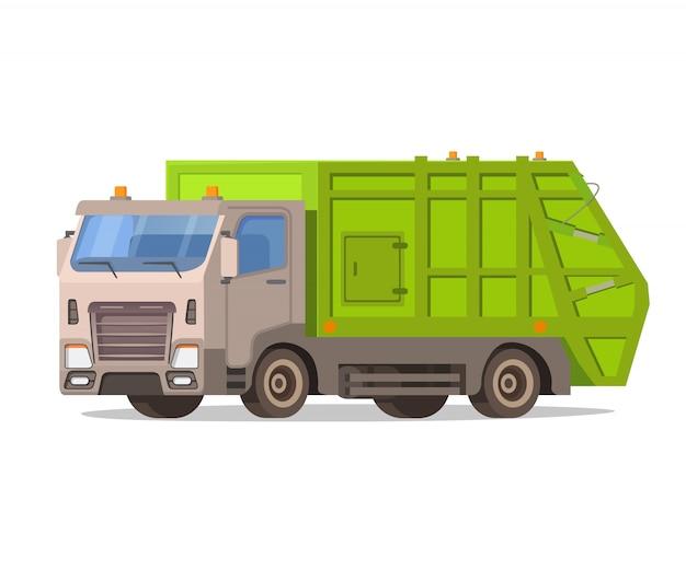 Śmieciarka na białym tle. zużyty przód pojazdu. miejska ciężarówka do transportu sanitarnego. obsługa miasta. czyszczenie ulic miast. oddzielne zbieranie odpadów.