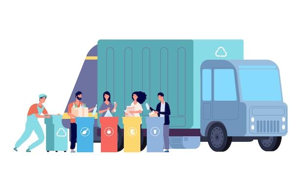 Śmieciarka. odrzuć recykling, śmieci pracowników i pojemniki na odpady. ludzie sortują i wyrzucają odpady. koncepcja recyklingu śmietnika. ilustracja recykling kontenerów, śmieci i zbieranie odpadów