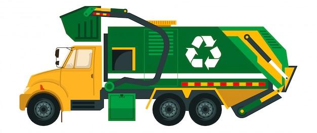 Śmieciarka po wyrzuceniu śmieci do domu