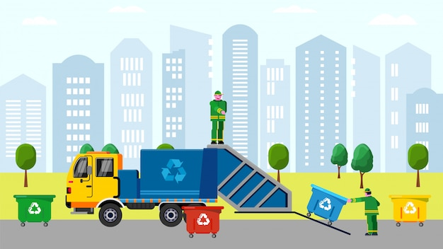 Śmieciarzów bunkrowania śmieci w kosz na śmiecie na ciężarówce w miastowym usługowym charakterze sortuje wymiatanie kreskówki ilustrację.