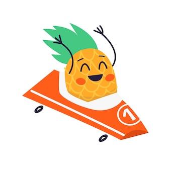 Śmiejąca się postać ananasa jedzie na wesołej ilustracji wózka
