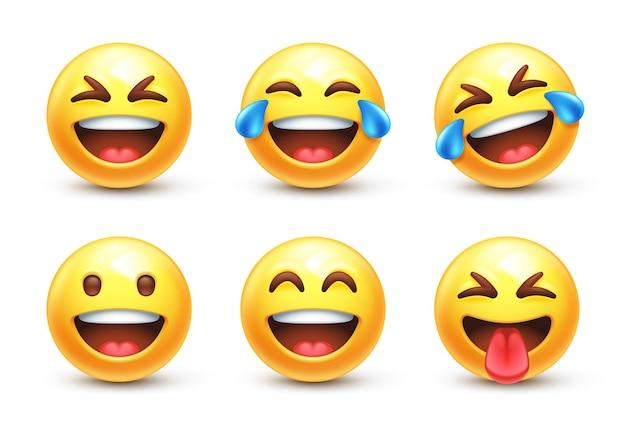 Śmiejący się stylizowany emoji w 3d
