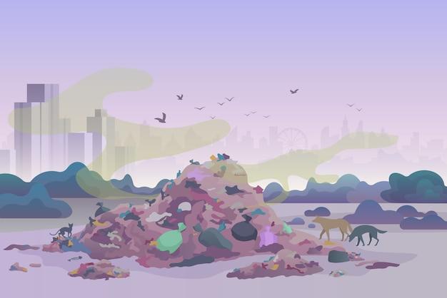 Śmierdzące zaśmiecające wysypisko śmieci z kotami i psami oraz panoramę miasta w tle