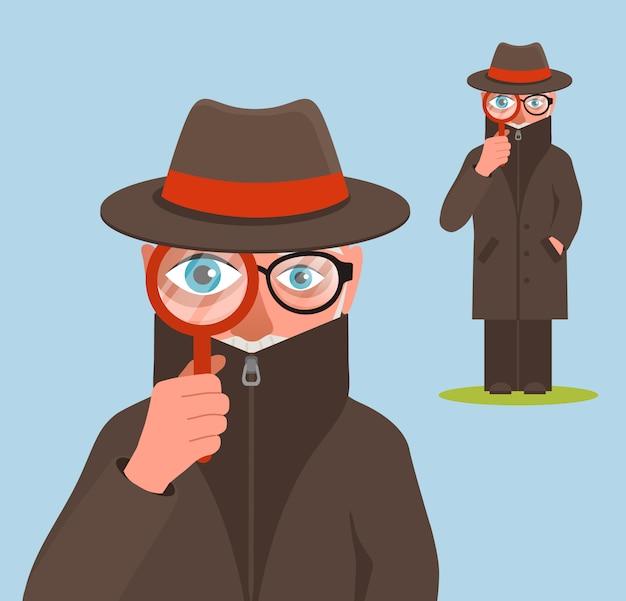 Śmieszna detektywistyczna charakter ilustracja
