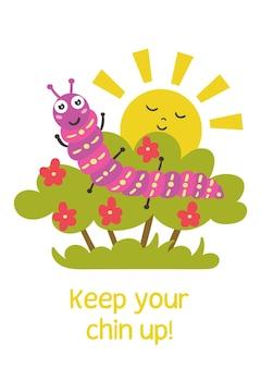 Śmieszna gąsienica siedzi krzak pozytywna karta z pozdrowieniami dla dzieci