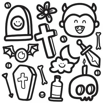 Śmieszna halloweenowa doodle projekta ilustracja